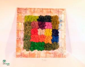 tavola colori lichene 45x45 cm cornice bambù